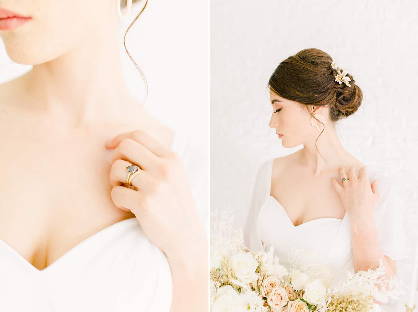 Modern bride with sleep updo, statement earrings and sweetheart neckline, unique engagement ring