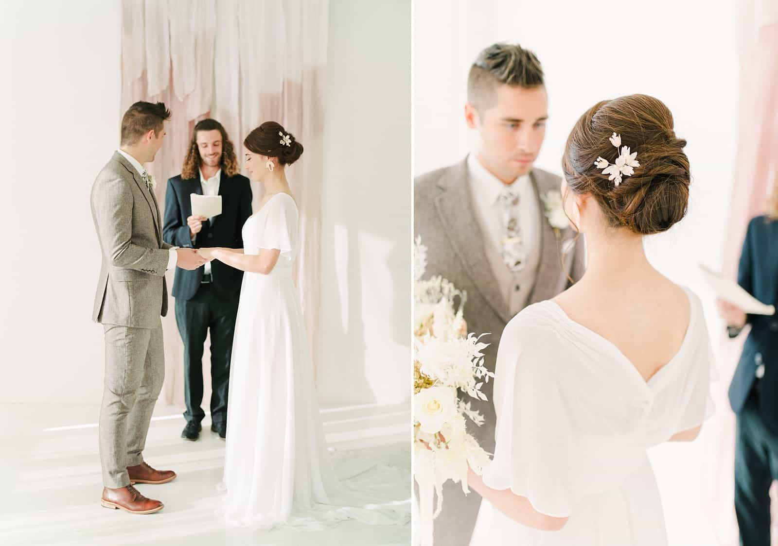 Small modern wedding ceremony, crystal bridal hairpiece