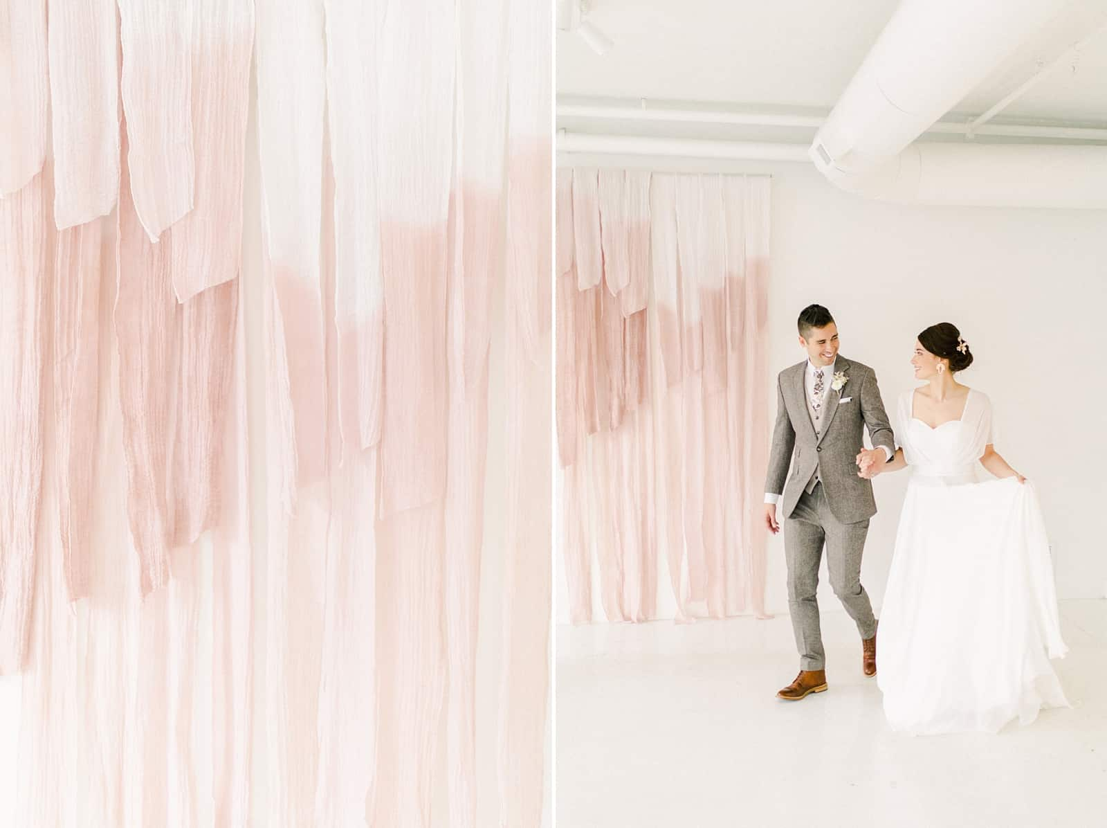 Modern blush pink painted cheesecloth ombre watercolor backdrop