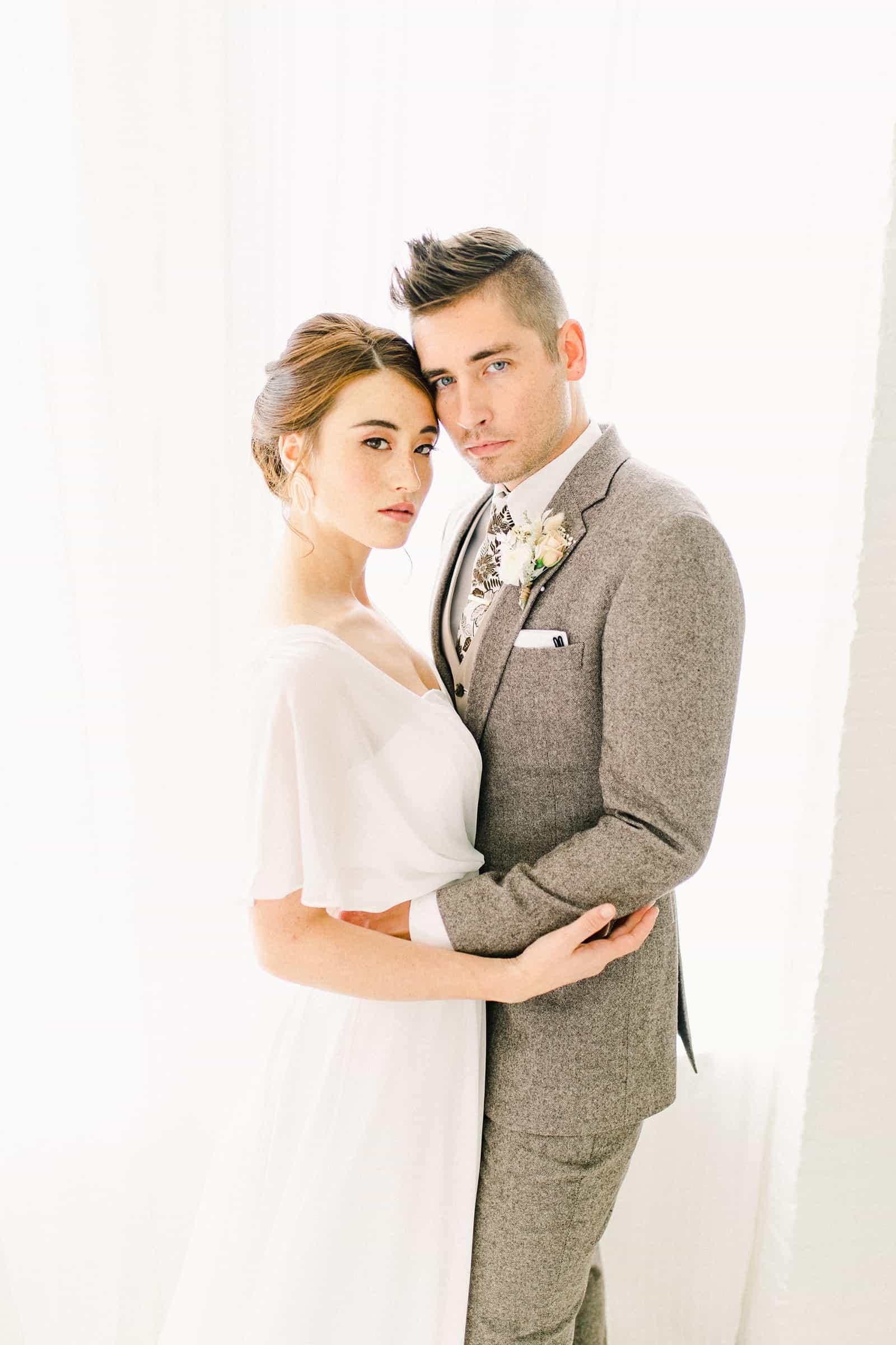 Modern bride and groom, fall wedding