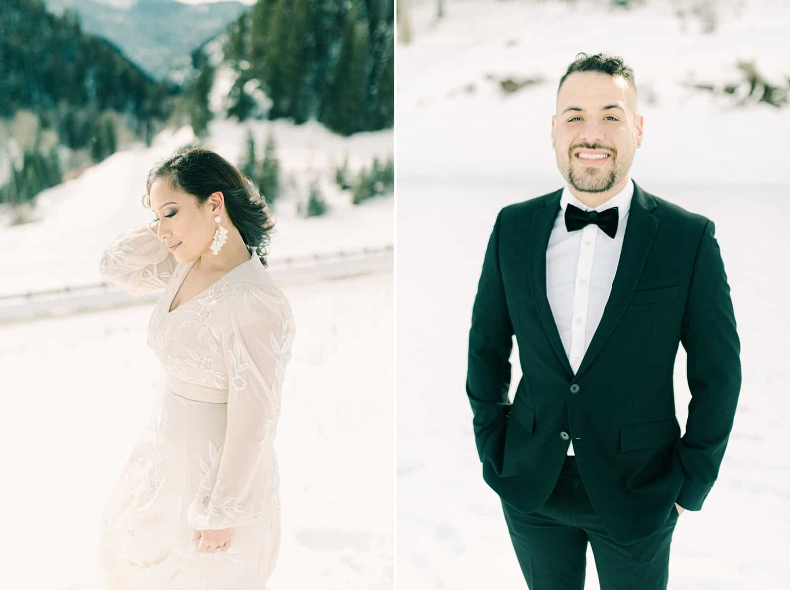 Outfits for winter bride and groom