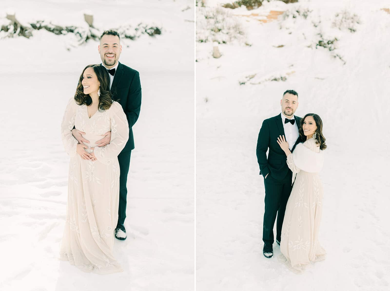 Bride and groom laughing, winter wedding in snow