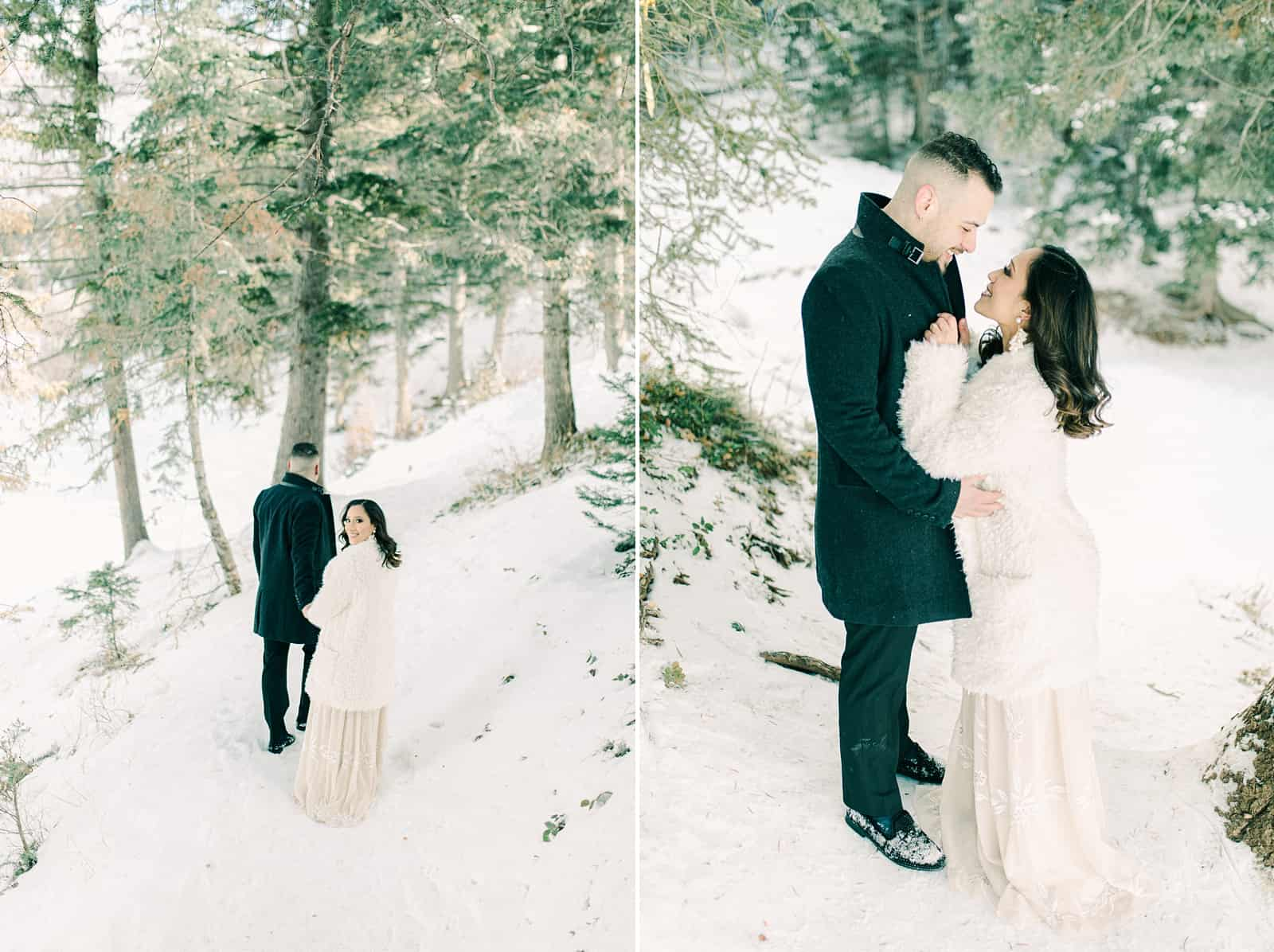 Utah winter wedding, bride and groom snowy pine trees