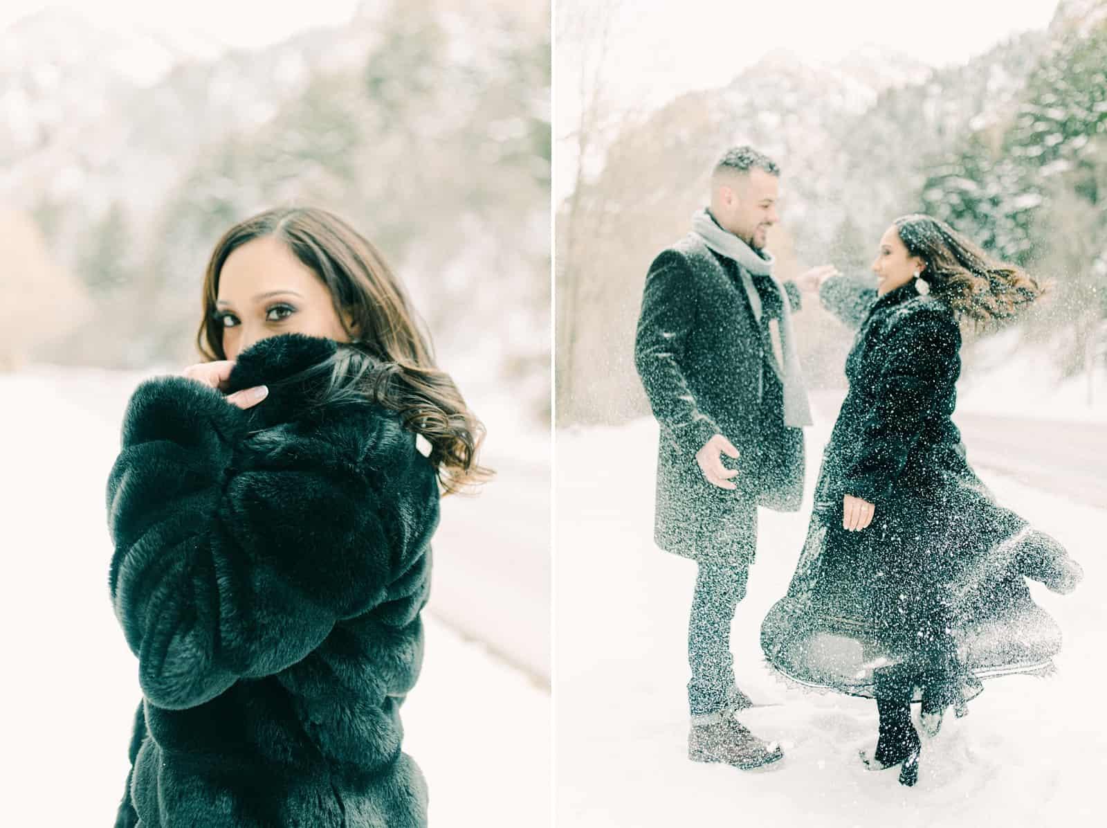 Utah winter engagement photography