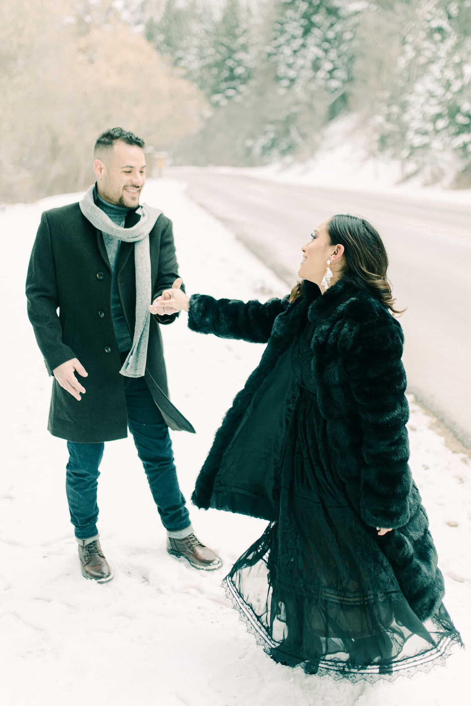 Outfit ideas for winter engagement session