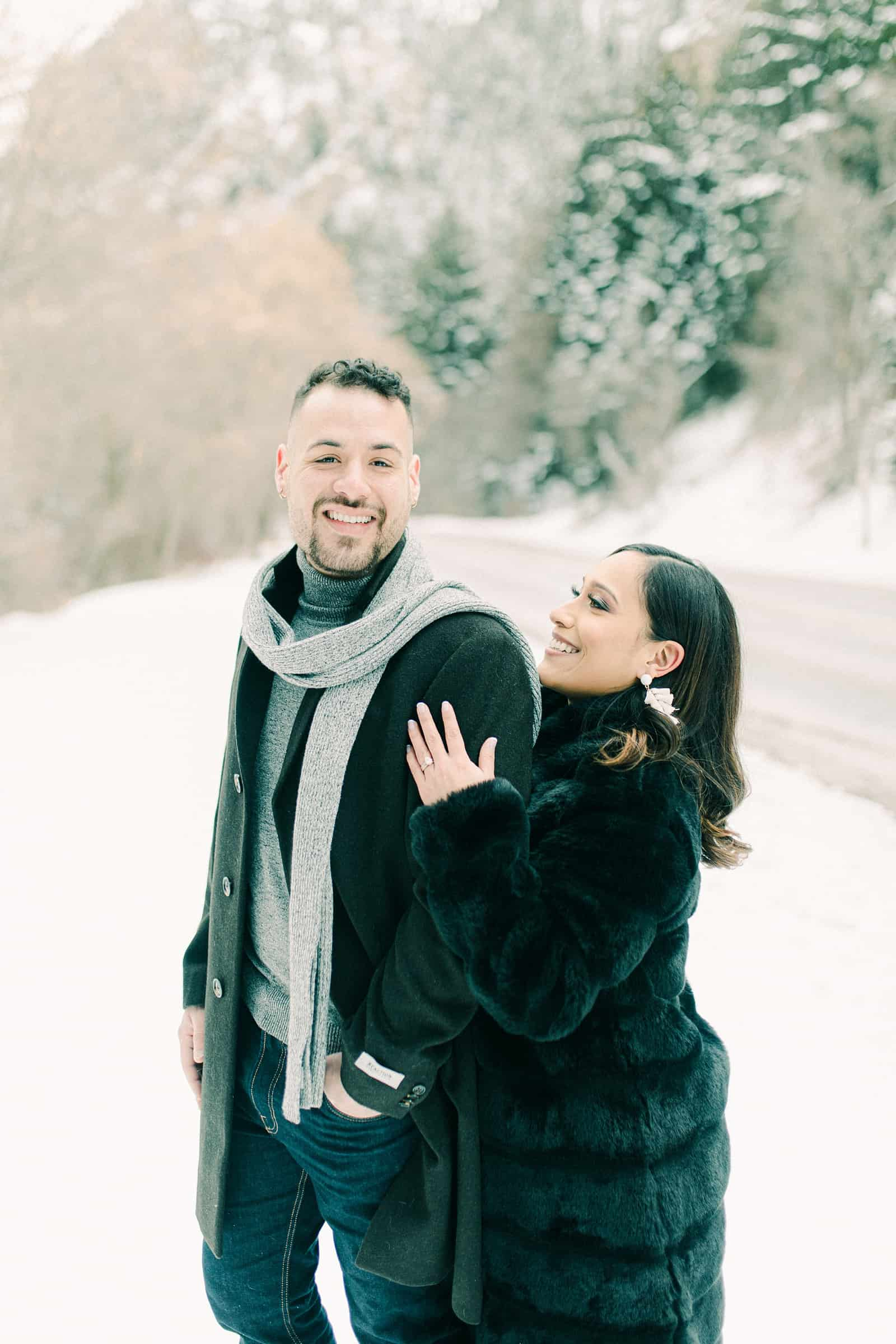 Winter engagement outfit ideas, gray scarf and black coat