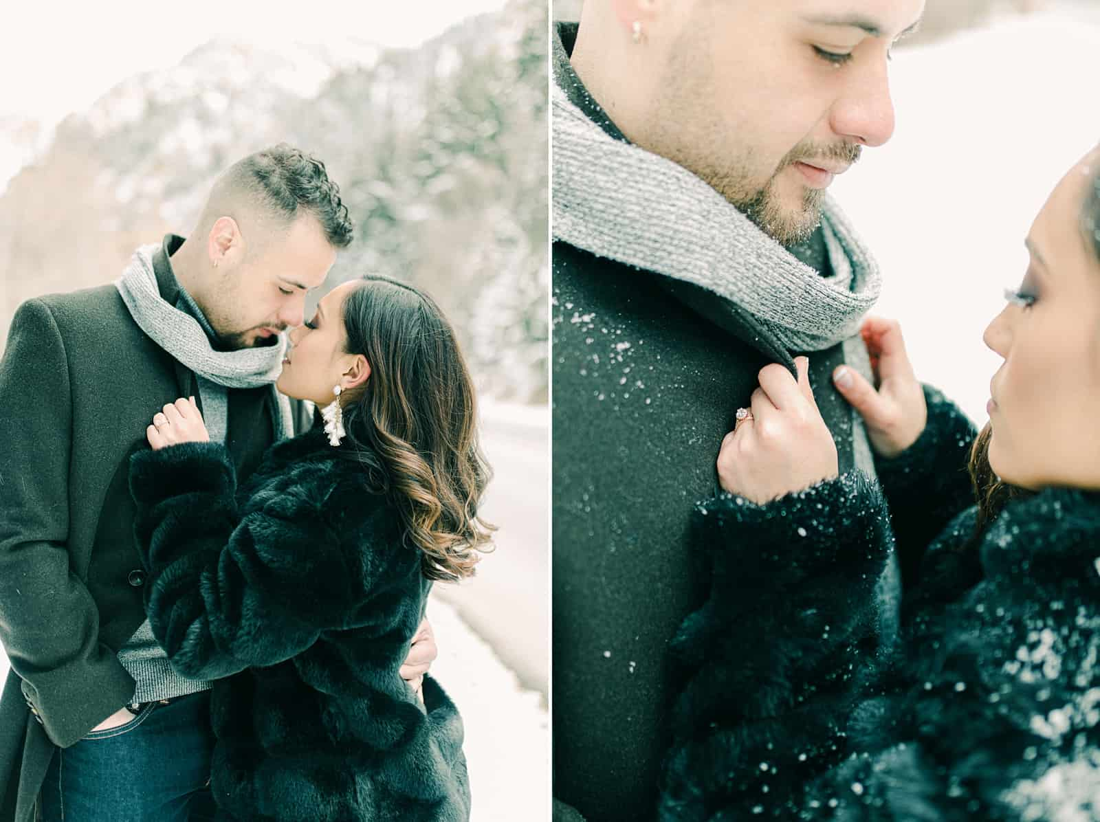 Winter engagement outfit ideas, gray scarf and black coat, diamond engagement ring