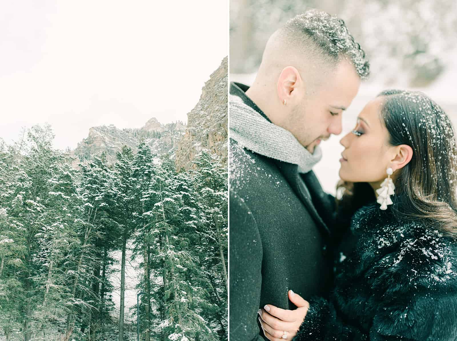 Winter engagement photography in Utah snowy mountains
