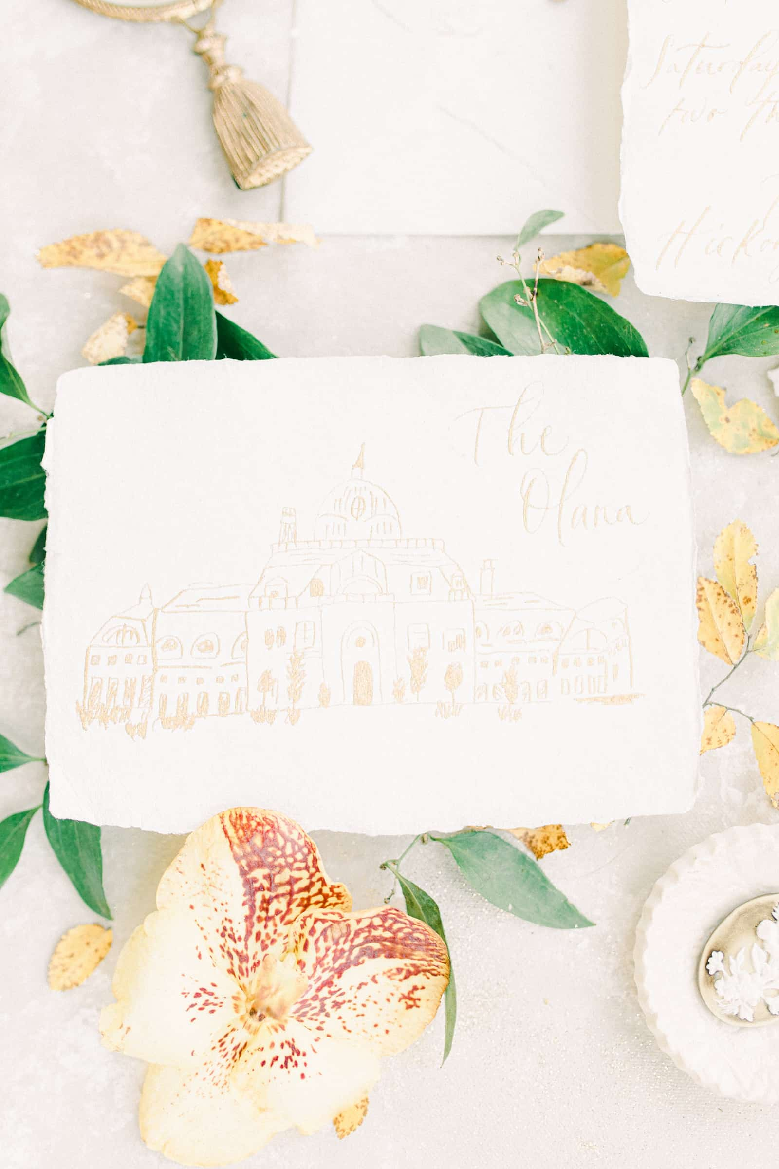 Wedding venue drawing, sketch with gold ink, wedding invitation suite
