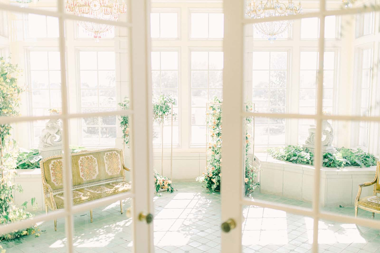 Destination wedding venue, double French doors into the green room