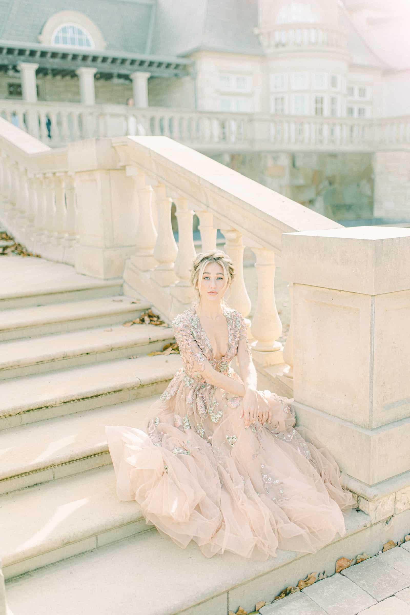 Bride wearing flowy tulle wedding dress, modern wedding dress designer, couture wedding dress