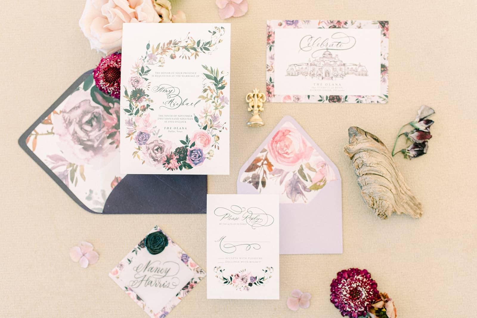 Floral painted wedding invitations, watercolor fine art invitations