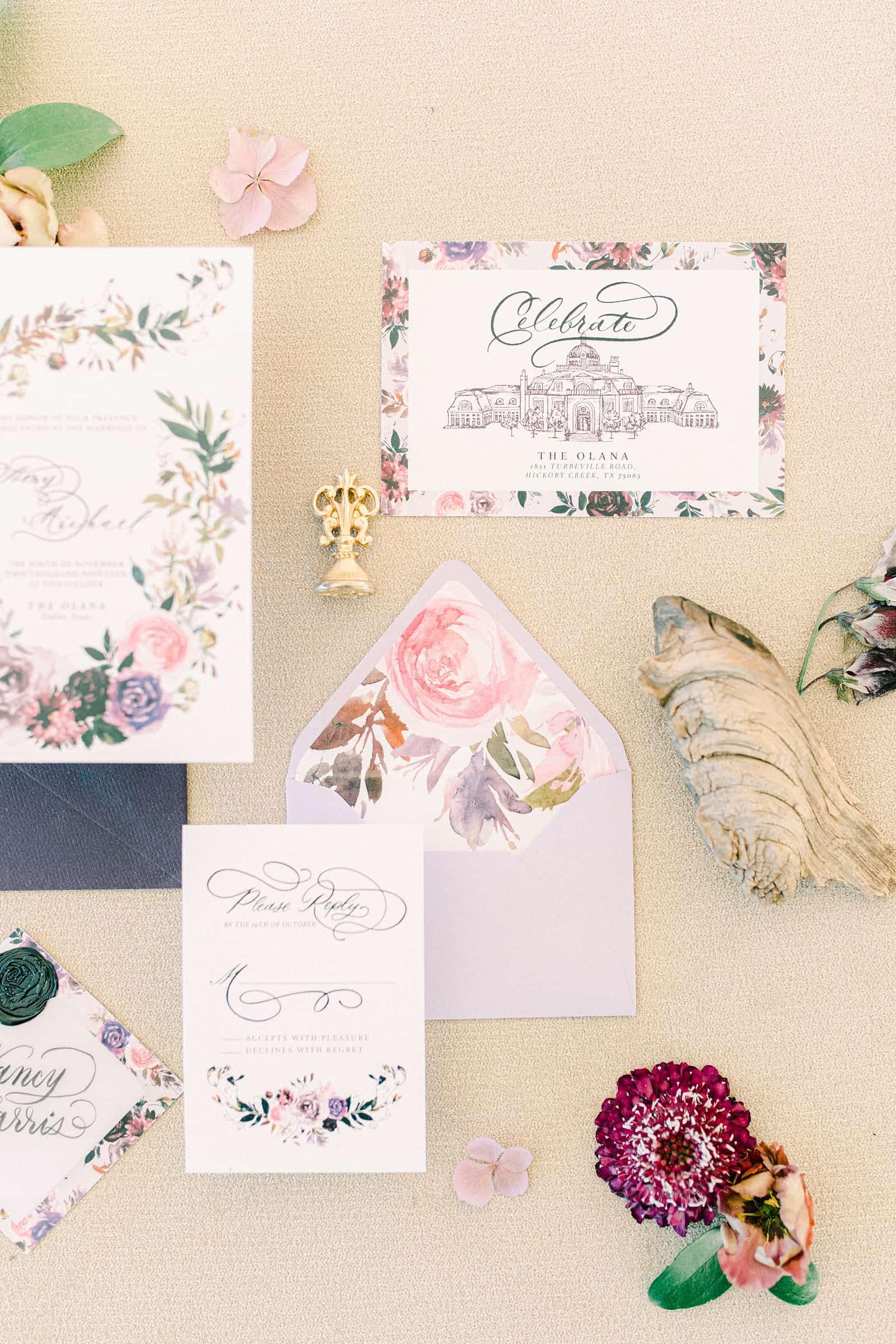 Purple Floral painted wedding invitations, watercolor fine art invitations