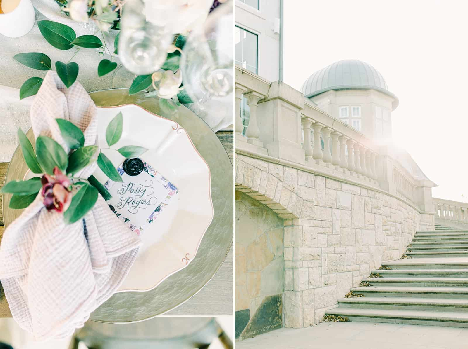Destination wedding inspiration, calligraphy placeards with wax seal