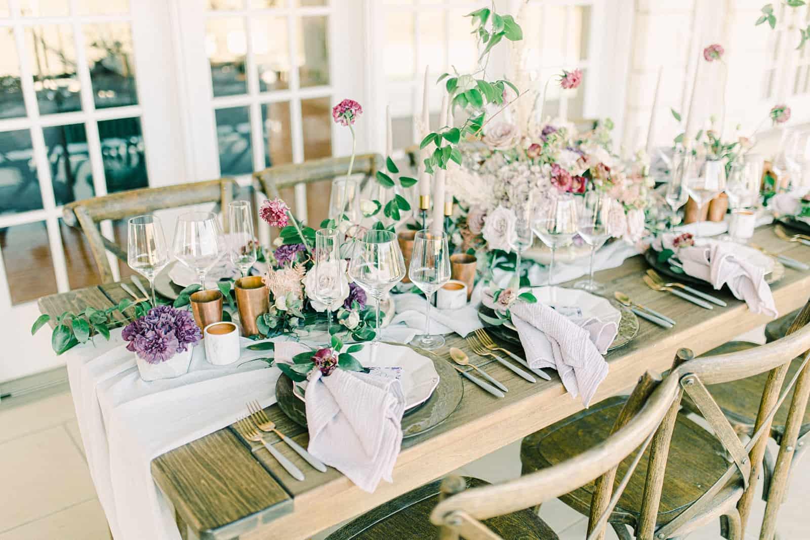 Garden nature inspired wedding table, reception decor