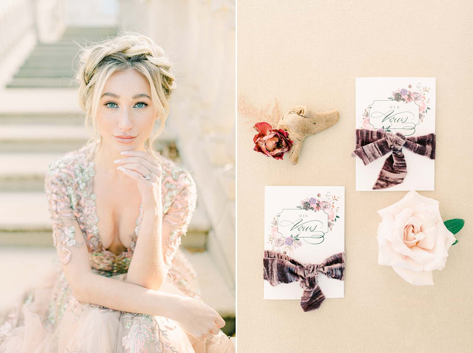 European bride with crown of braids wearing flower embellished wedding dress, wedding ceremony vow books with purple velvet ribbon