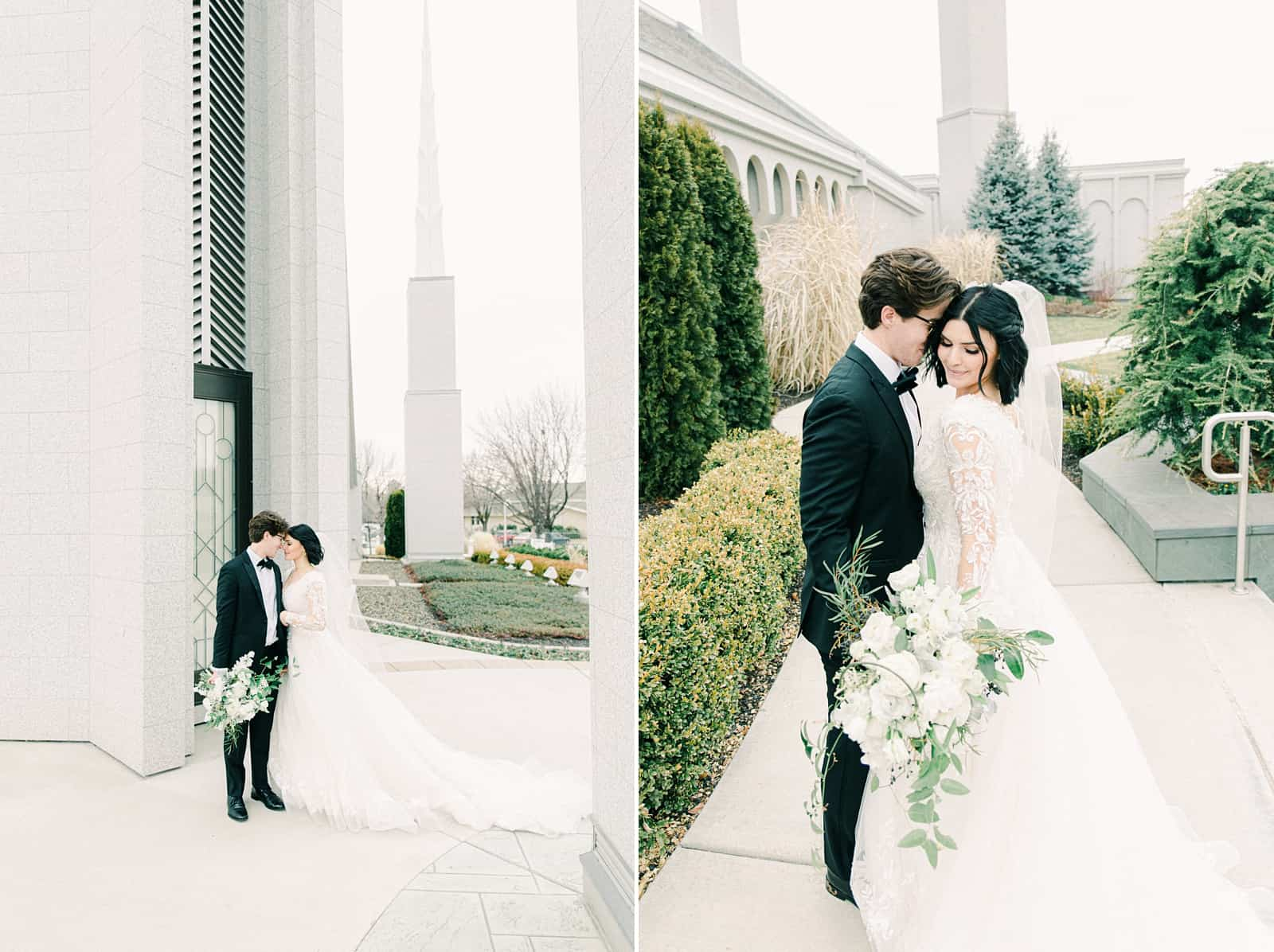 Luxury winter wedding at Willowbridge Estate in Boise, Idaho, bride and groom at LDS temple wedding