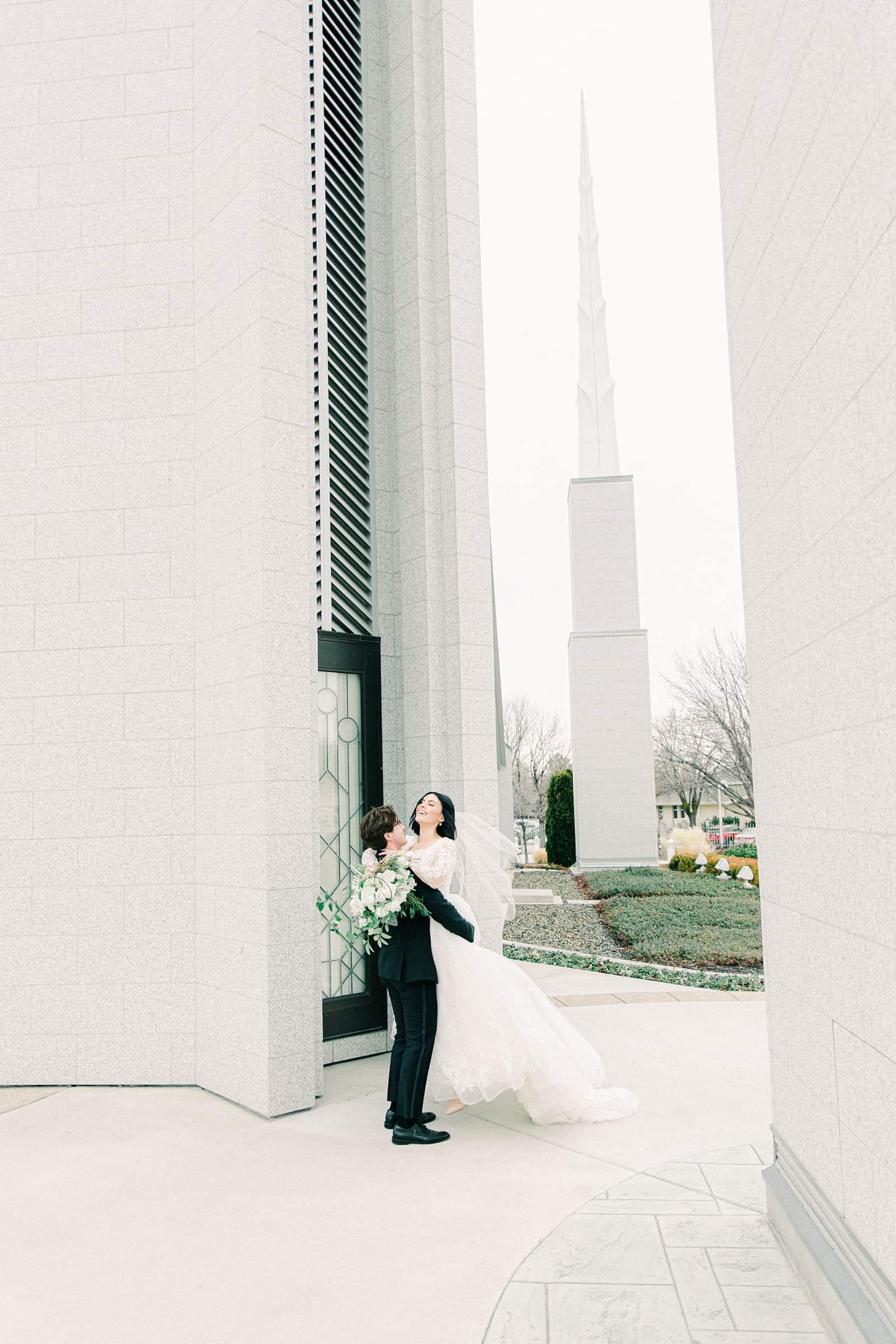 Cute bride and groom pose, utah wedding photography