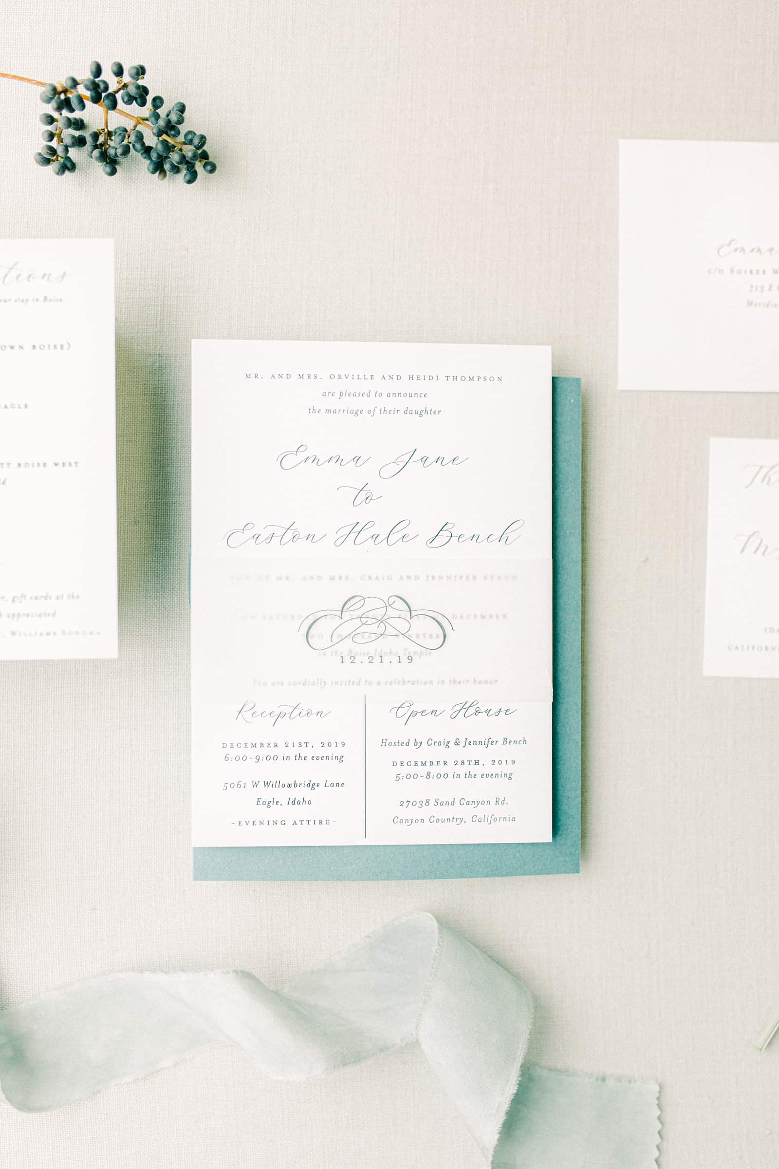 Simple, elegant calligraphy wedding invitations for winter wedding