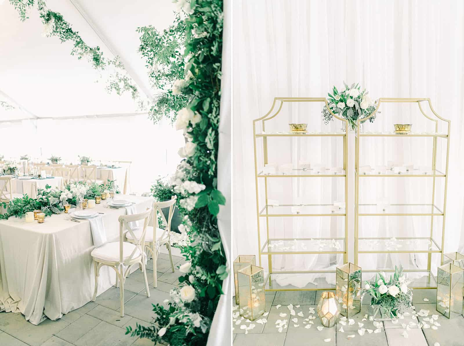 Luxury winter wedding at Willowbridge Estate in Boise, Idaho, white tent reception with greenery floral garland with white roses and tables with centerpieces