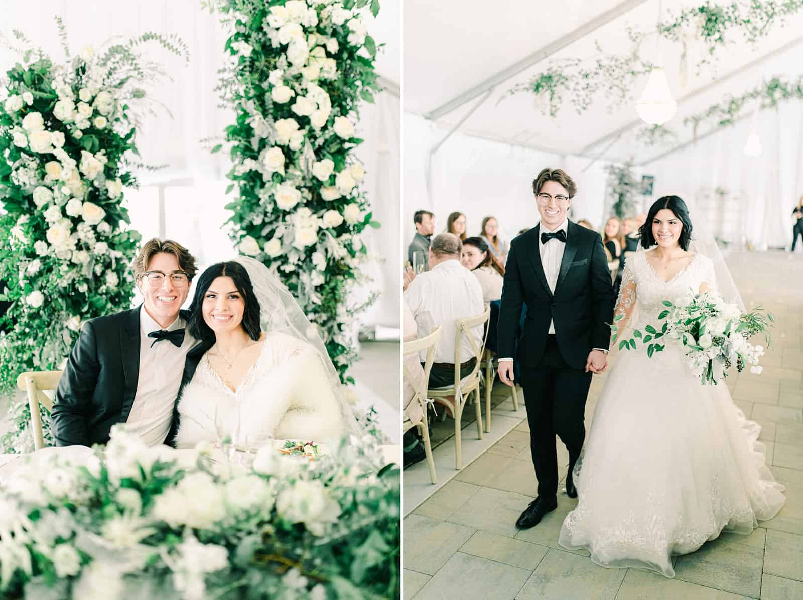 Luxury winter wedding at Willowbridge Estate in Boise, Idaho, bride and groom at sweetheart table with floral arch with white flowers and greenery backdrop, bride and groom walk down aisle