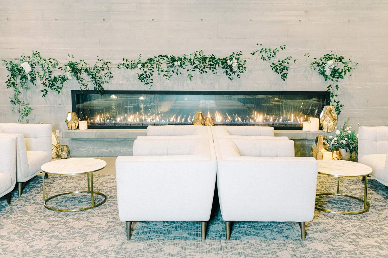 Luxury winter wedding at Willowbridge Estate in Boise, Idaho, white couch and chairs, reception rentals