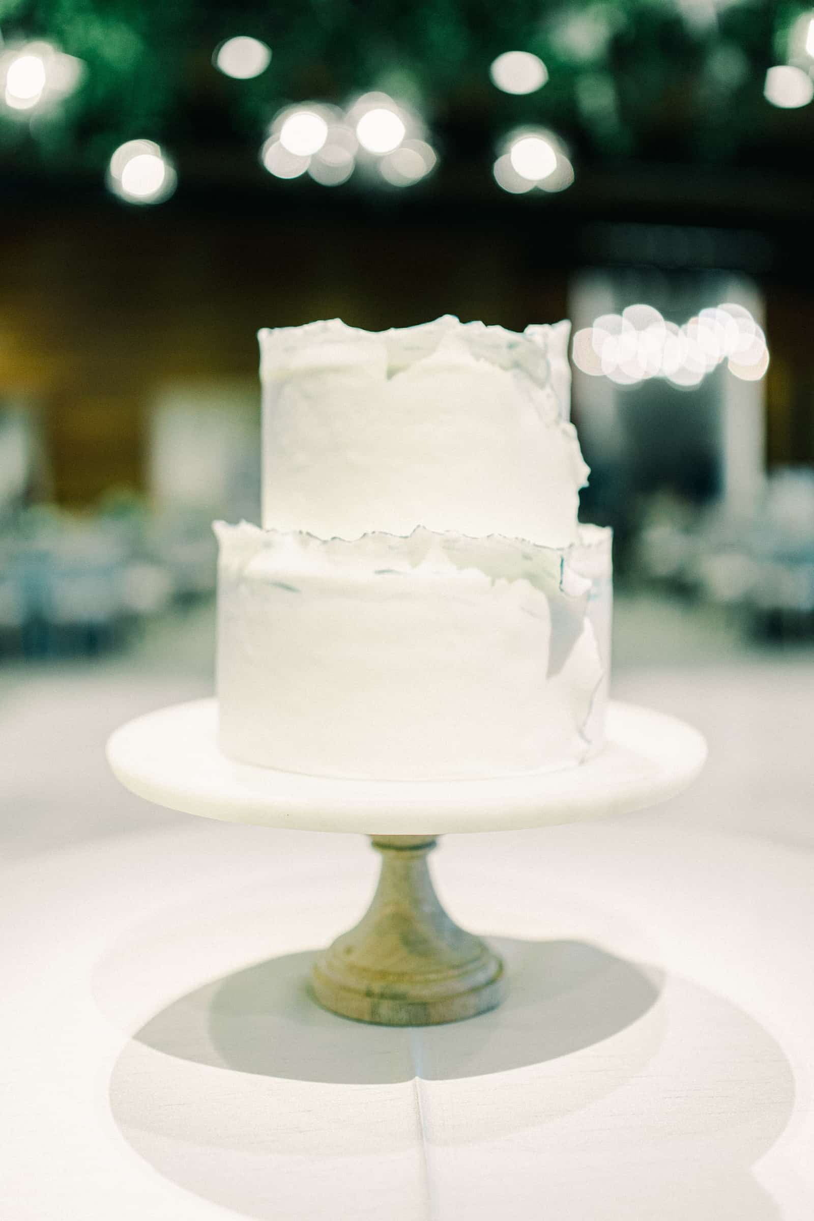 White and gray two tier modern wedding cake