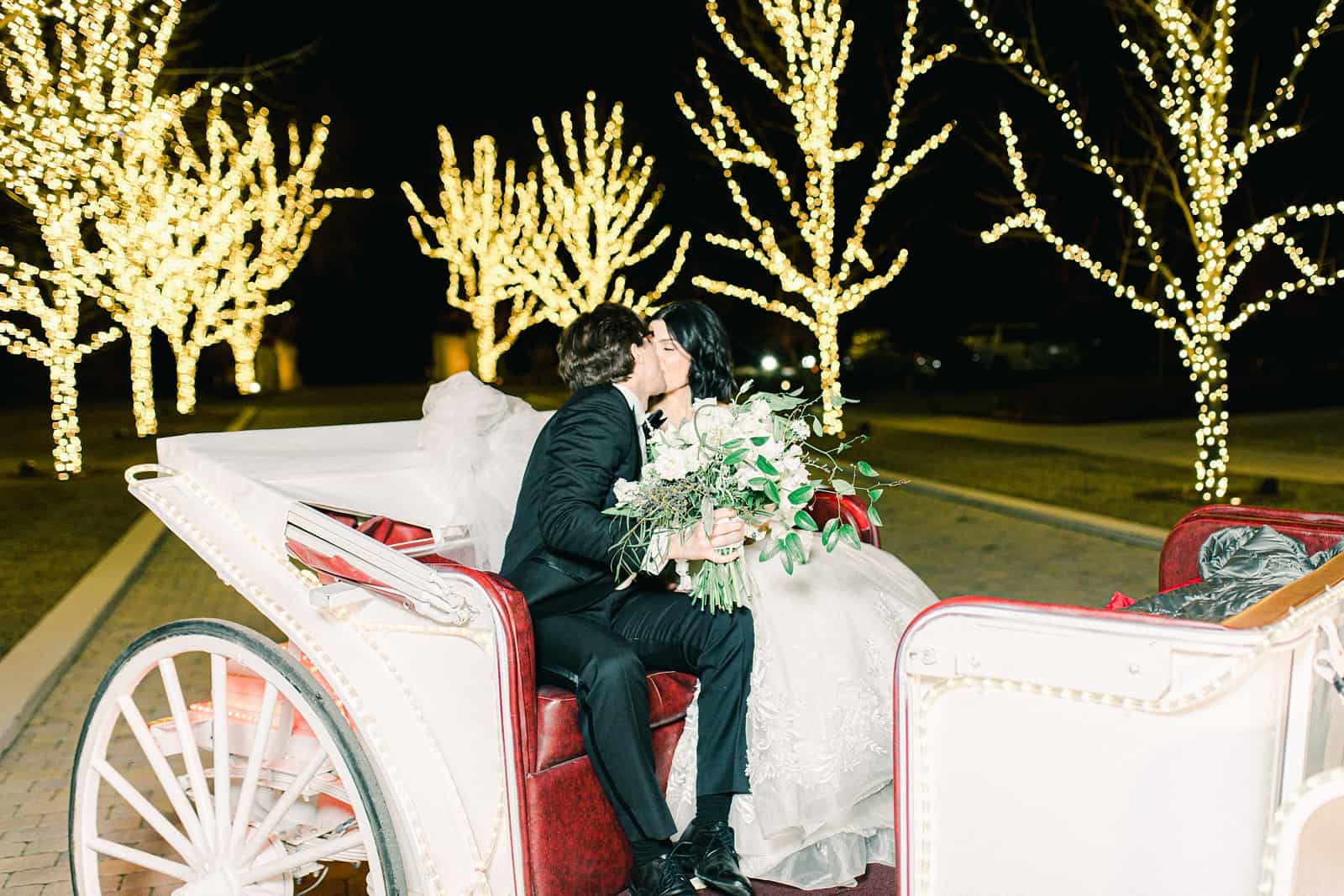 Bride and groom kiss in carriage