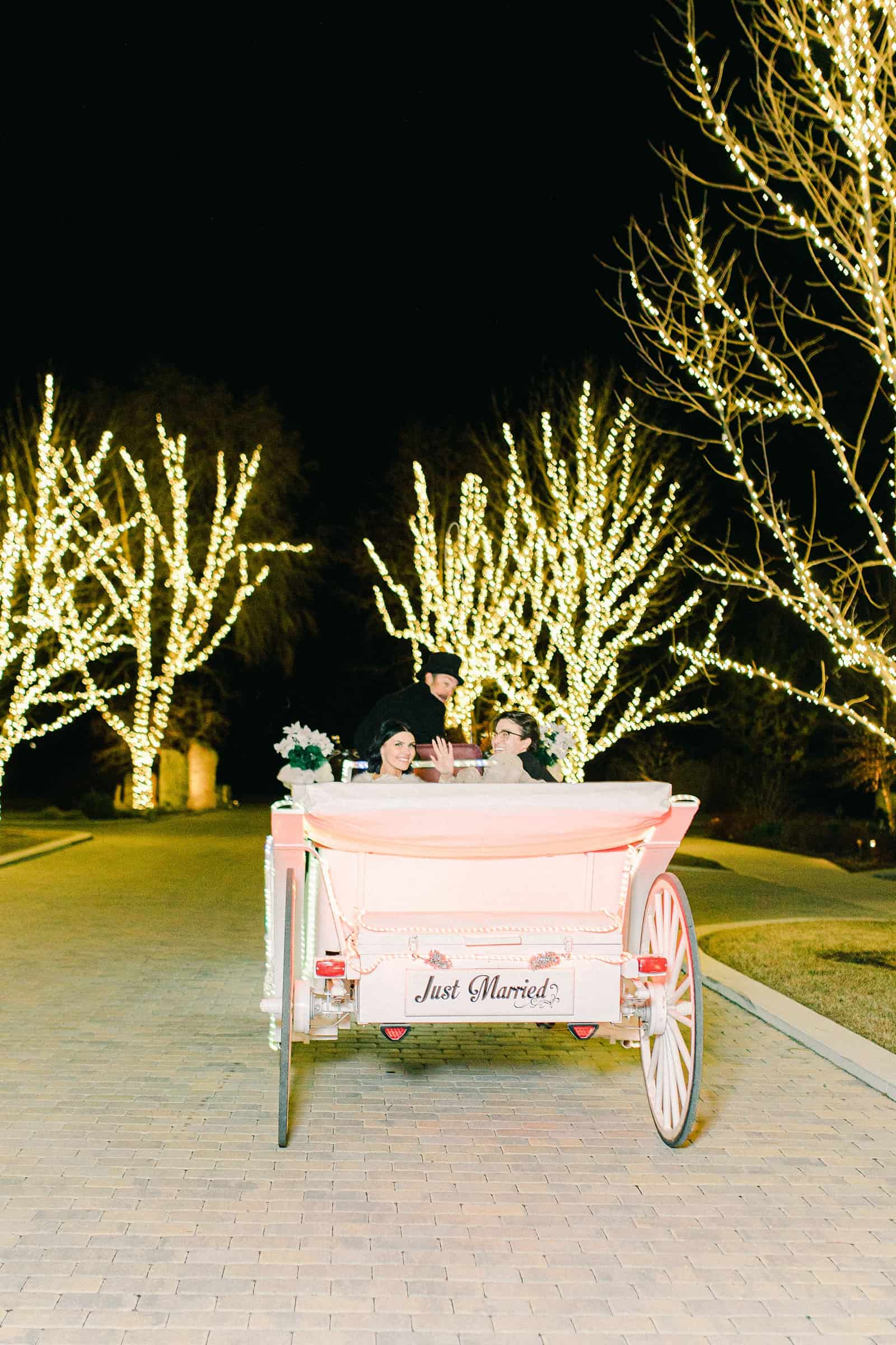 Winter wedding, bride and groom grand send off exit in horse drawn white carriage