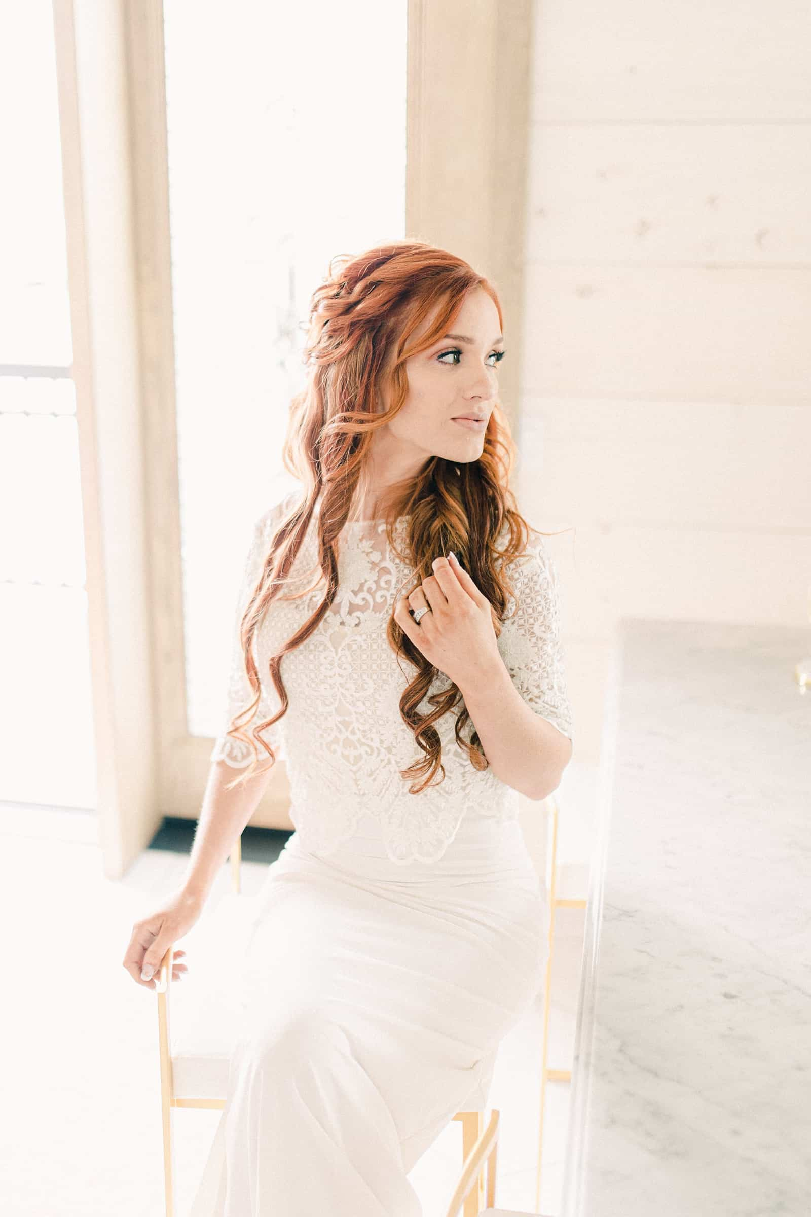Freckled Fox wedding, redhead bride with long curly wedding hairstyle