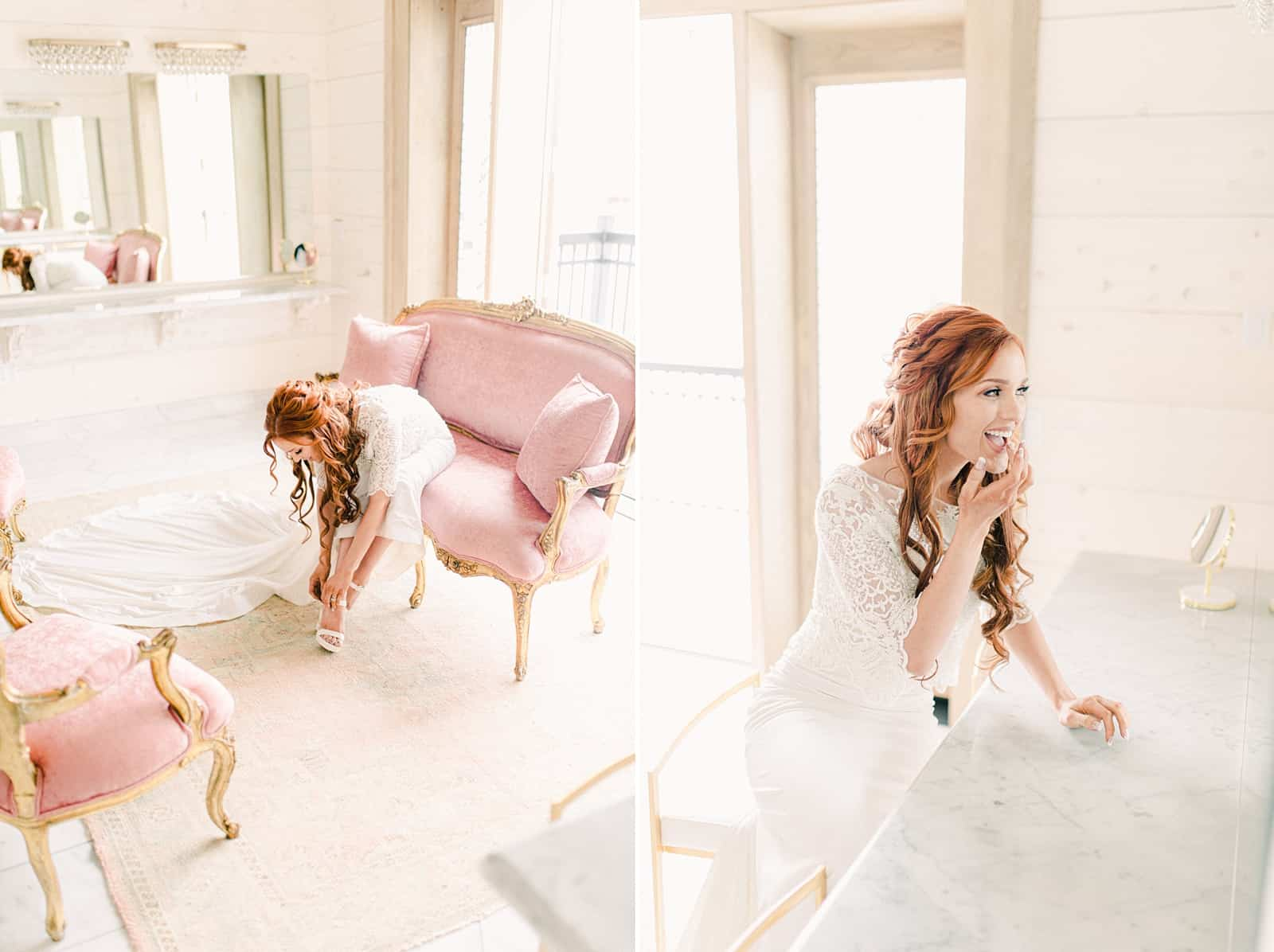 bride with red hair putting on makeup getting ready for wedding