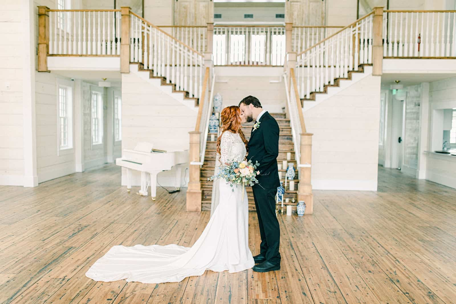 Walker Farms wedding, Utah wedding photography, bride and groom in front of staircase