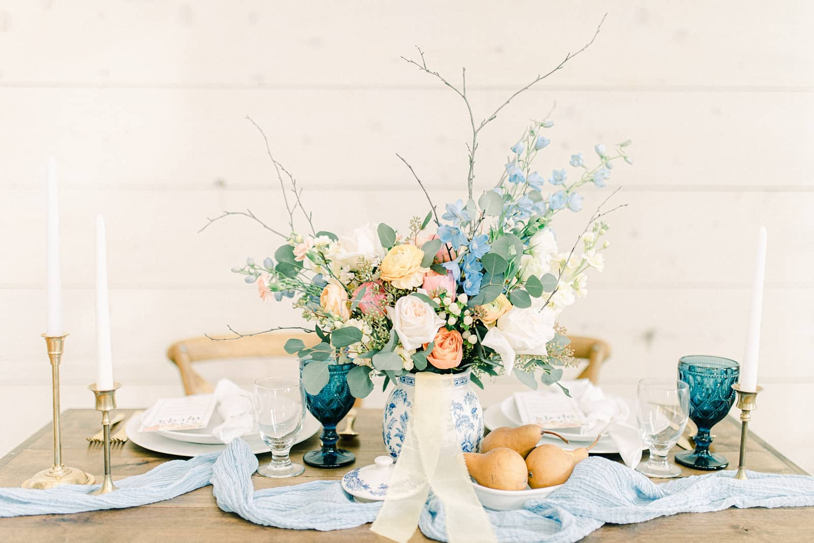 Walker Farms wedding inspiration, pastel wedding colors, light blue flower centerpiece, European wedding
