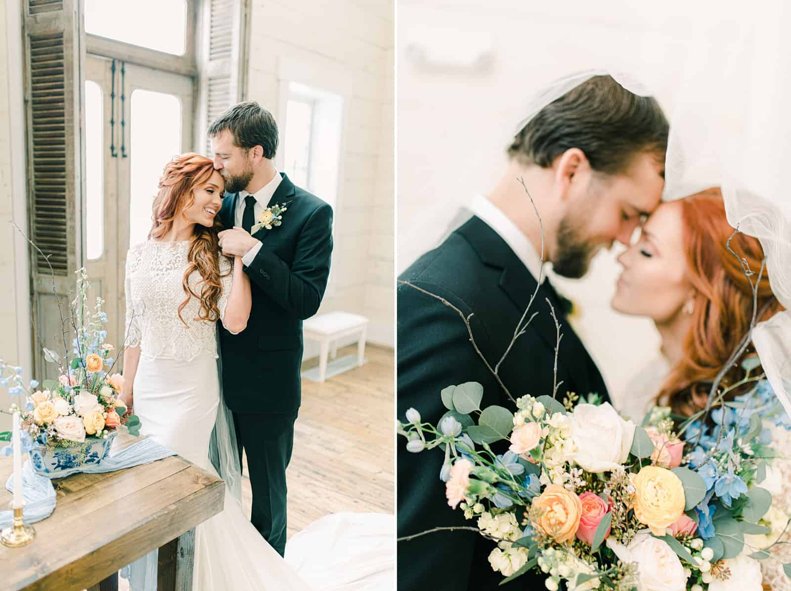 Utah bride and groom with pastel wedding flowers, destination European wedding