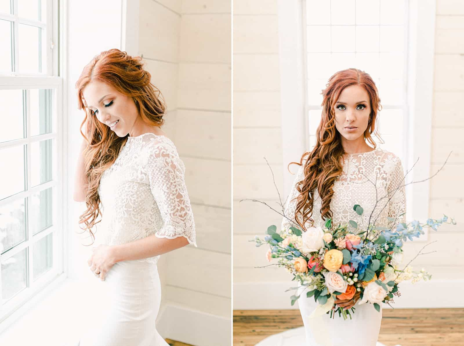 Bride with long lace sleeves holding wedding bouquet with pastel colors, blue, pink, orange, peach flowers, Freckled Fox