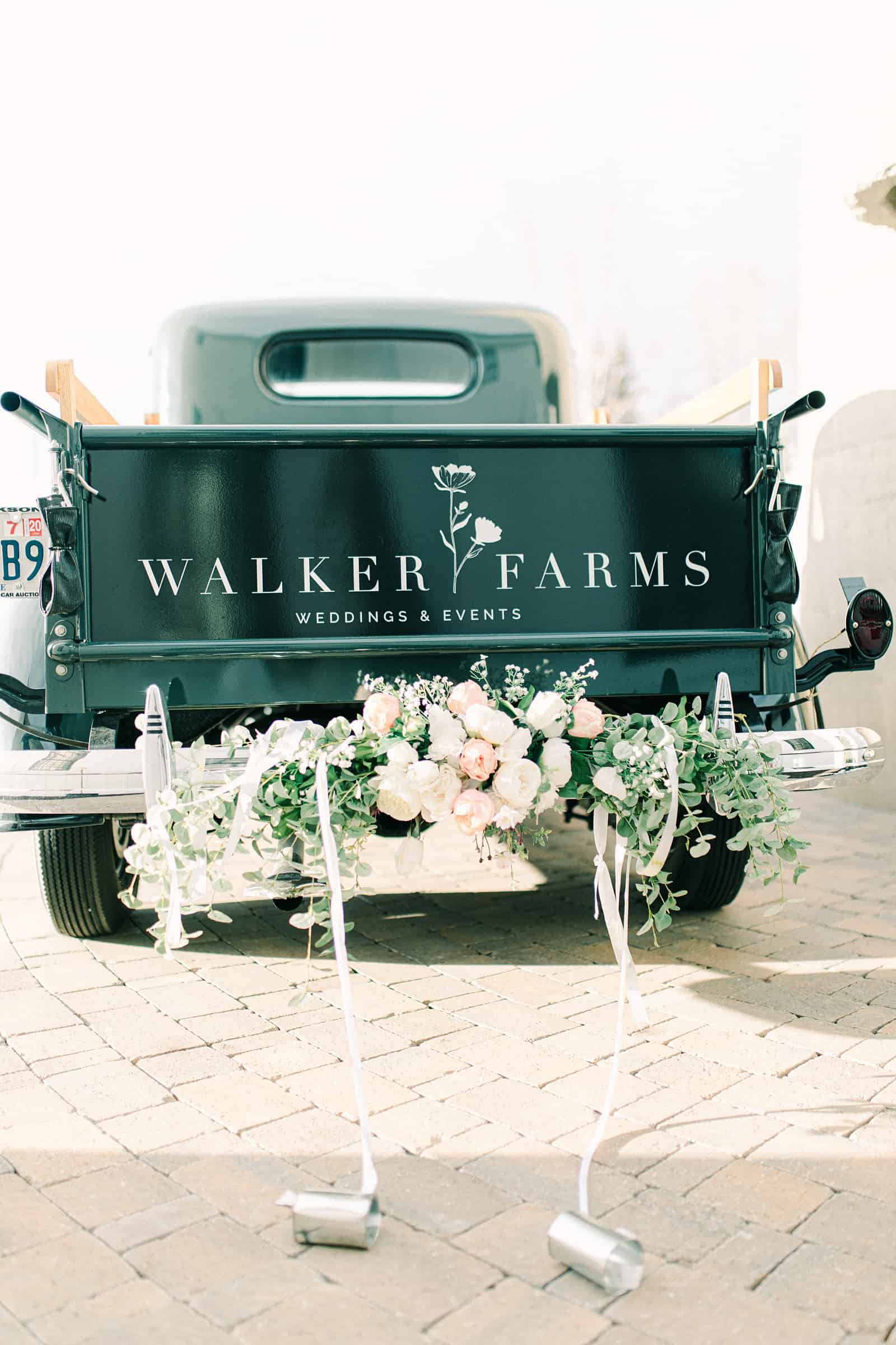 Walker Farms wedding and events, decorated truck, getaway car, Utah wedding, truck covered in flowers, reception decor